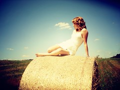 Country Gal (Rowena R) Tags: colour country r fields themed redhair haybale rowena whitedress