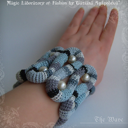 THE WAVE Felted and Crochet CUFF with Pearls