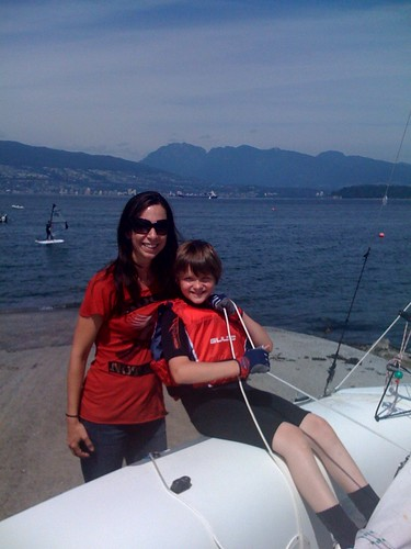 Lori (one of our many set teachers in Vancouver), and Charlie on the Set of Charlie St. Cloud