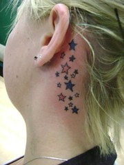 multiple star tattoo (tatzbyjustin) Tags: tattoo neck stars star tattoos ear tatoos tatoo tat tats tatz colerful