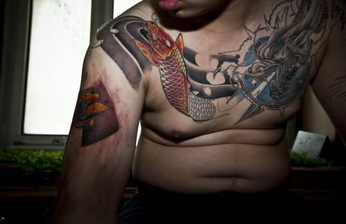 Numbers of domestic tattoo makers gathered at the Changchun New World