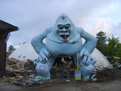 Abandoned Abominable Snowman squats over the wreck of Miracle Strip Amusement Park, Panama City Beach, Florida (stevesobczuk) Tags: abandoned ruins riviera florida demolition vacant redneck panamacitybeach abominablesnowman miraclestripamusementpark