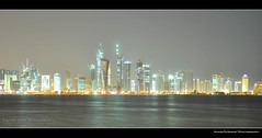 Qatar Corniche @ Night 'The Towers',    - ({ahradwani.com} Hawee Ta3kees- ) Tags: light water night ali corniche hassan 2009 doha qatar  slowexposure  d90      thetowers   18105mm nikond90     nikonflickraward qataratnight nikond90club nikon18105mm hawee 18105mmlens   haweeta3kees   ta3kees ahradwanicom ahradwani