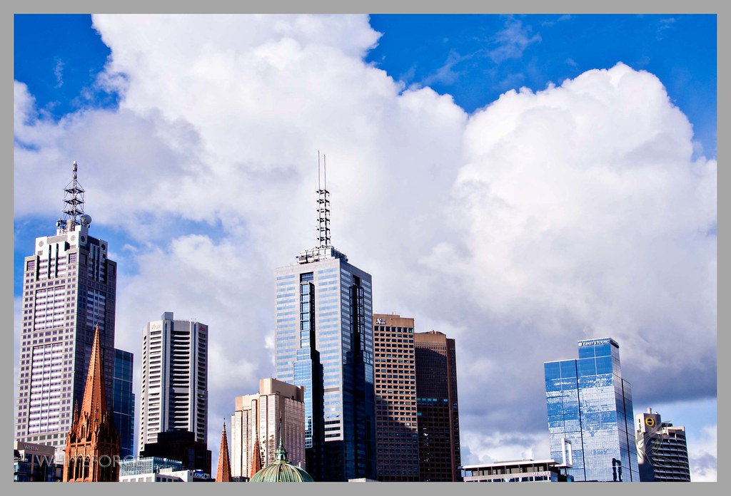 Melbourne buildings and clouds