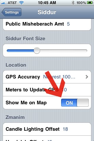 Turn Off Siddur Map Feature
