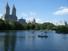 Romantic Row by R J Watson (Ray~Watson) Tags: nyc blue sky lake newyork castle beautiful architecture clouds buildings fun boats centralpark manhattan unique rowing belvedere goodtimes belvederecastle twotowers