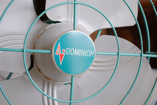 Detail of vintage Dominion table-top fan