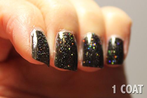 China Glaze Fairy Dust (1 coat) over OPI Black Onyx