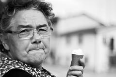 Grandma and her ice-cream. (rebelbutterfly) Tags: grandma portrait people bw nikon 18 50 nonna d90 rebelbutterfly