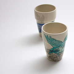 cup - kingfisher (Aya Rosen) Tags: ocean blue bird craft cups kingfisher whale aquahandpainted