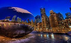Millennium Park (NearDC) Tags: city winter cloud chicago cold night gate il millenniumpark hdr 5xp neardc