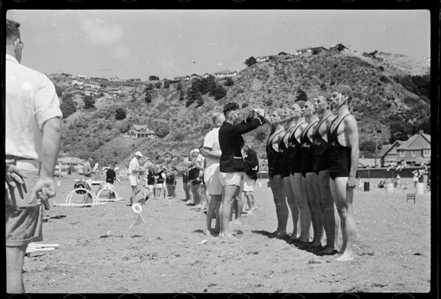 Dominion lifesaving championships, Lyall Bay, Wellington. 1950