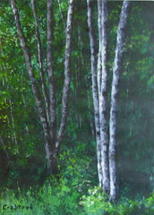 Birch trees/bark, an acrylic study piece (Elizabethc) Tags: trees light white black green art leaves forest dark painting sticks artist acrylic elizabeth shadows michigan highlights foliage bark birch bushes visualart crabtree dense battlecreek treestand goldstaraward birchstand elizabethcrabtree crabtreeoriginals