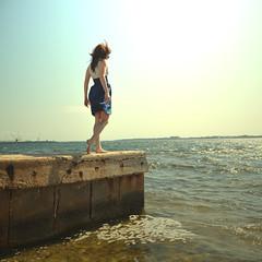 in my mind (savanah jane) Tags: ocean portrait beach water colors girl standing self hair hands waves looking dress view wind down daytime crains