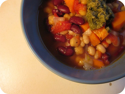 Three-bean Chili with Pesto