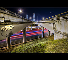 The Red Movement (Ryan Eng) Tags: night lights hawaii highway oahu overpass freeway h1 h2 dri longshutter exposures sigma1020mm carstreaks pearlcity digitalblending nikond90 ryaneng