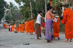 Morning Alms Walk (Ursula in Aus (Away)) Tags: street morning man male thailand buddhist monk buddhism mon kanchanaburi alms  sangkhlaburi   globalspirit almsbowl earthasia