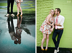 Rain Puddles Reflect ({SNS Photography}) Tags: wedding reflection love fashion canon engagement diptych couple bright romance girlandboy freelancephotography esession orlandophotography snsphotography