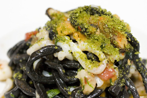 Black Maccheroni with Mixed Seafood