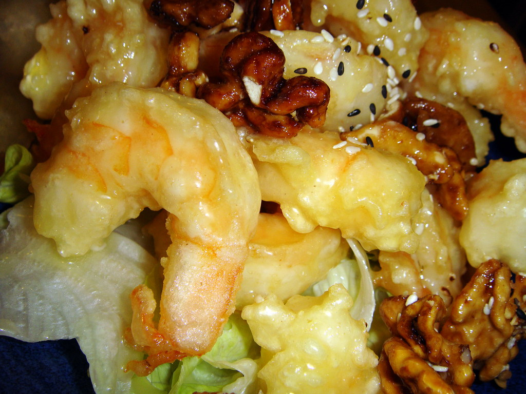 Walnut Prawns close up