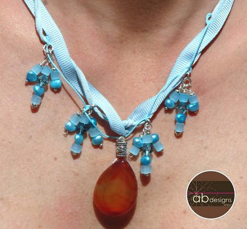 Baby blue quartz necklace with coraline pendant Piece no. 00709016