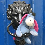 Who Knows What Lies Behind the Blue Door? Eeyore Knows. Whitehall, London thumbnail
