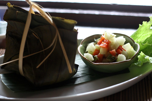 Luang Prabang's delicacy: wrapped steam fish by you.