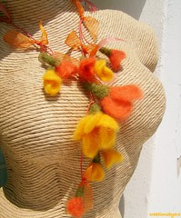 spicy colors necklace (1) (creationsbyeve) Tags: flowers woman tangerine necklace europe felting handmade crafts felt greece homemade romantic handcrafted ribbon spicy lariat etsy elegant artisan crafting saffron cinammon handmadegifts handcraftedgifts europeanstreetteam creationsbyeve etsygreekteam