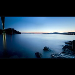 Under the Bridge (Christopher J. Morley) Tags: longexposure blue sunset canada vancouver lol northshore stanleypark lionsgatebridge makingdo beautifulbritishcolumbia colorphotoaward withwhatyouhave 100commentgroup bestofmywinners magicunicornverybest magicunicornmasterpiece obramaestra