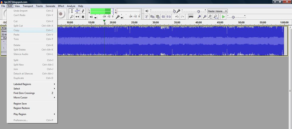 Audacity edit options not enabled