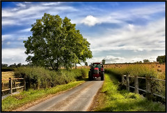 The Red Tractor (Pat Dalton...) Tags: road bridge trees shadow red sky tractor sunshine clouds canon fence raw leicestershire straw sigma hedge lane driver trailer railing bales embankment verge 1770mm 450d peatlingmagna contrastmaster pdeee454