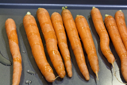 oiling the carrots