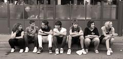 Seven portraits (alessandro rizzitano) Tags: street girls bw boys portraits canon strada bn sidewalk ritratti ragazzi ragazze marciapiede