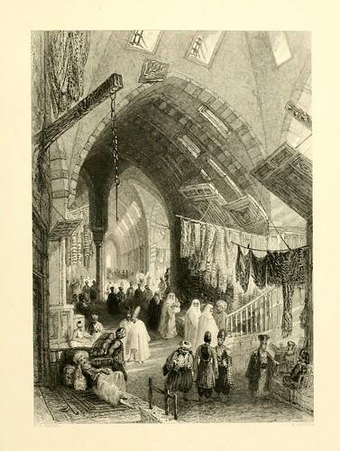 010-Una escena en el Gran Bazar-Las bellezas del Bosforo 1838-W.H. Bartlett