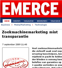 Emerce artikel Zoekmachinemarketing mist transparantie
