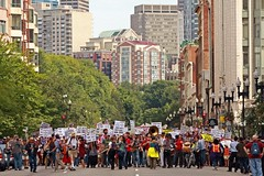 Marching to Copley Square (apdonovan) Tags: boston massachusetts labor rally demonstration unions bostonma healthcare obama bostoncommon seiu bostonist laborunions universalhub ef70200f28lis universalhealthcare canoneos40d