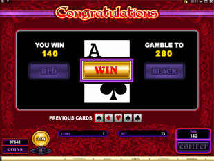 free Burning Desire gamble bonus game