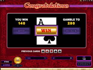 free Burning Desire gamble bonus game