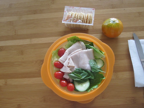 Turkey salad, crackers, honey tangerine