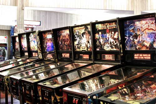 Pinball machines.