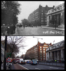 Marylebone Road`1922-2009 (roll the dice) Tags: old uk houses wedding london art history classic buses westminster architecture office traffic flag cab taxi collection townhall paddington local bakerstreet w1 mccartney edwardian nw1 marylebone oldandnew mansions dwellings newroad twenties pastandpresent londonist nw8 bygone hereandnow lissongrove bickenhall