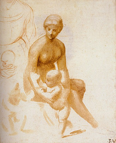 1506  Raphael    Studies for a Virgin and Child with the Infant Saint John  Brush and pale brown wash  21,9x18 cm  otam