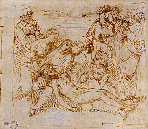 1507  Raphael    Studies for the EntomBibliothиque municipaleent, The Lamentation  Pen and brown Ink  otam