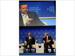 Recep Tayyip Erdogan, Shimon Peres - World Economic Forum Annual Meeting Davos 2009