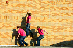 JUMP! (thisisbrianfisher) Tags: pink snow brick wall shirt outside outdoors jump outdoor brian air run jeans fisher float leap bfish