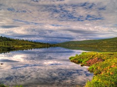 Wonder Lake (Matt Champlin) Tags: life trip camping summer mountains reflection nature weather alaska perfect skies cloudy hiking olympus 2006 calm symmetry e300 denali hdr mosquitoes alaskan denalinationalpark photomatix wonderlake mywinners abigfave platinumphoto aplusphoto