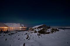 Colors and reflection (Oddur Jóns) Tags: sea snow mountains island lights iceland calm northernlights afterdark auroraborealis isafjordur nordlichter arnarnes