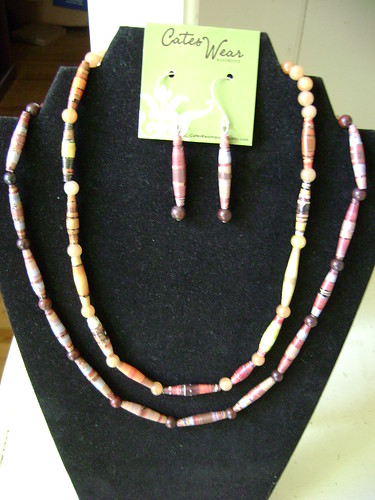Paper Bead Necklaces and Earrings