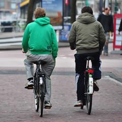 Cycling (Michiel2005) Tags: man men boys students bicycle cycling hoodie student hoody fietsen sweatpants fiets studenten mannen jongens joggingbroek