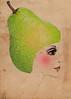 MISS PEAR COBBLER (ms_mod) Tags: woman green art collage fruit vintage print design mod mixedmedia victorian surreal kitsch retro ephemera cocktail cheeks pear etsy kitschy rosy dollface dollfacedesign